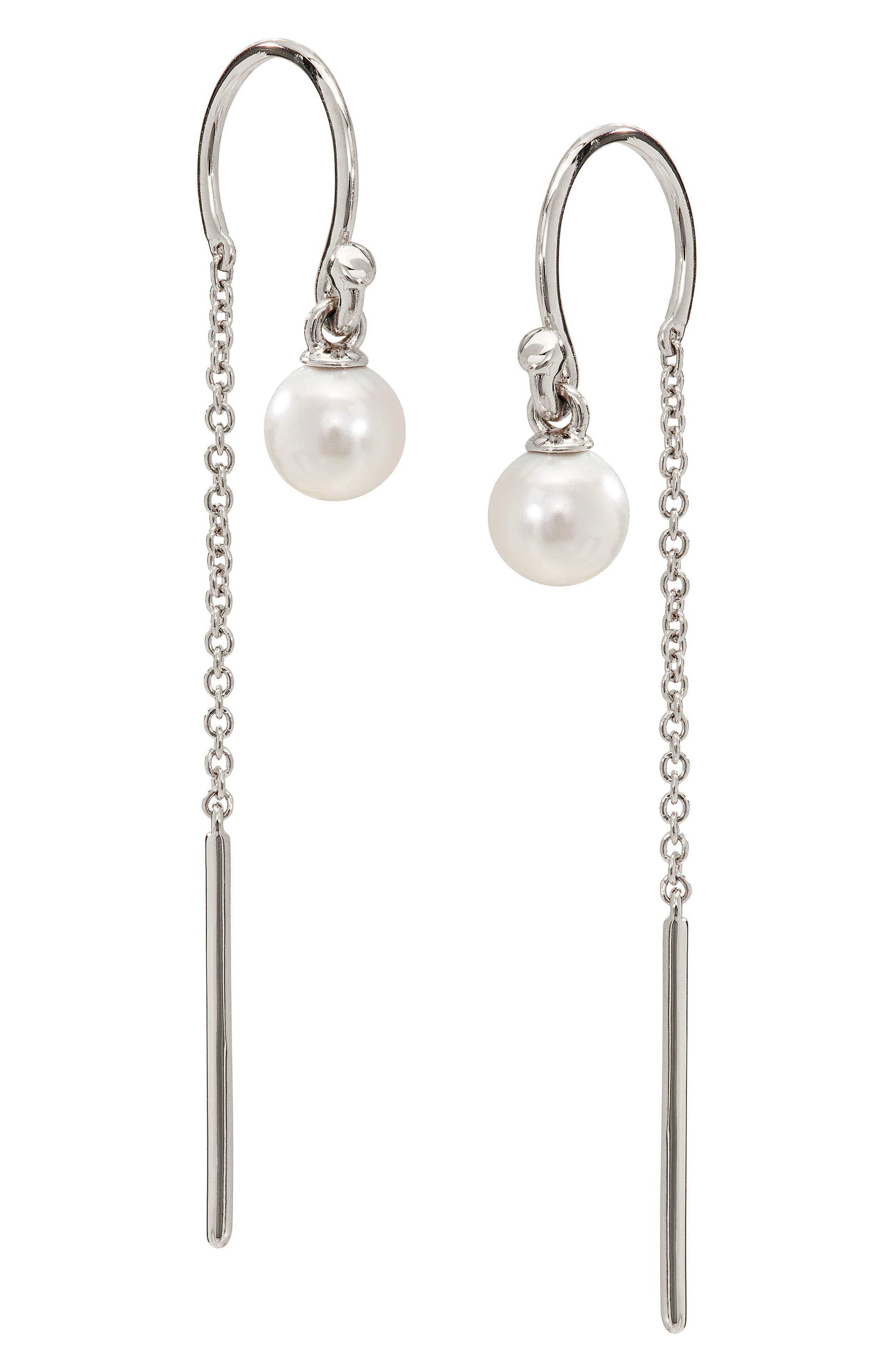 Imitation Pearl Drop Threader Earrings