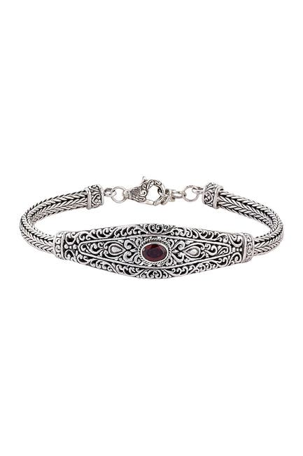Image of Samuel B Jewelry Sterling Silver Bezel Set Garnet Filigree Design Bracelet