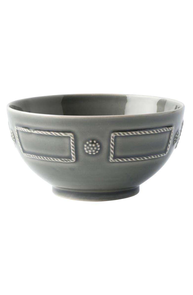 JULISKA Berry & Thread French Panel Ceramic Cereal Bowl, Main, color, STONE GREY