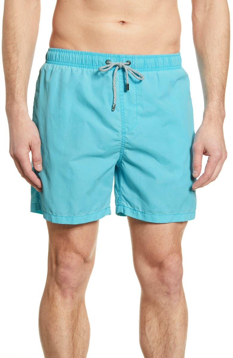 VINTAGE SUMMER Washed Nylon Swim Trunks, Main, color, TURQUOISE