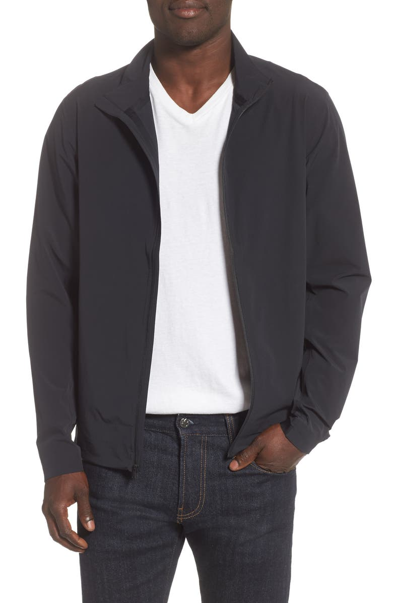 REIGNING CHAMP Stretch Nylon Track Jacket, Main, color, BLACK