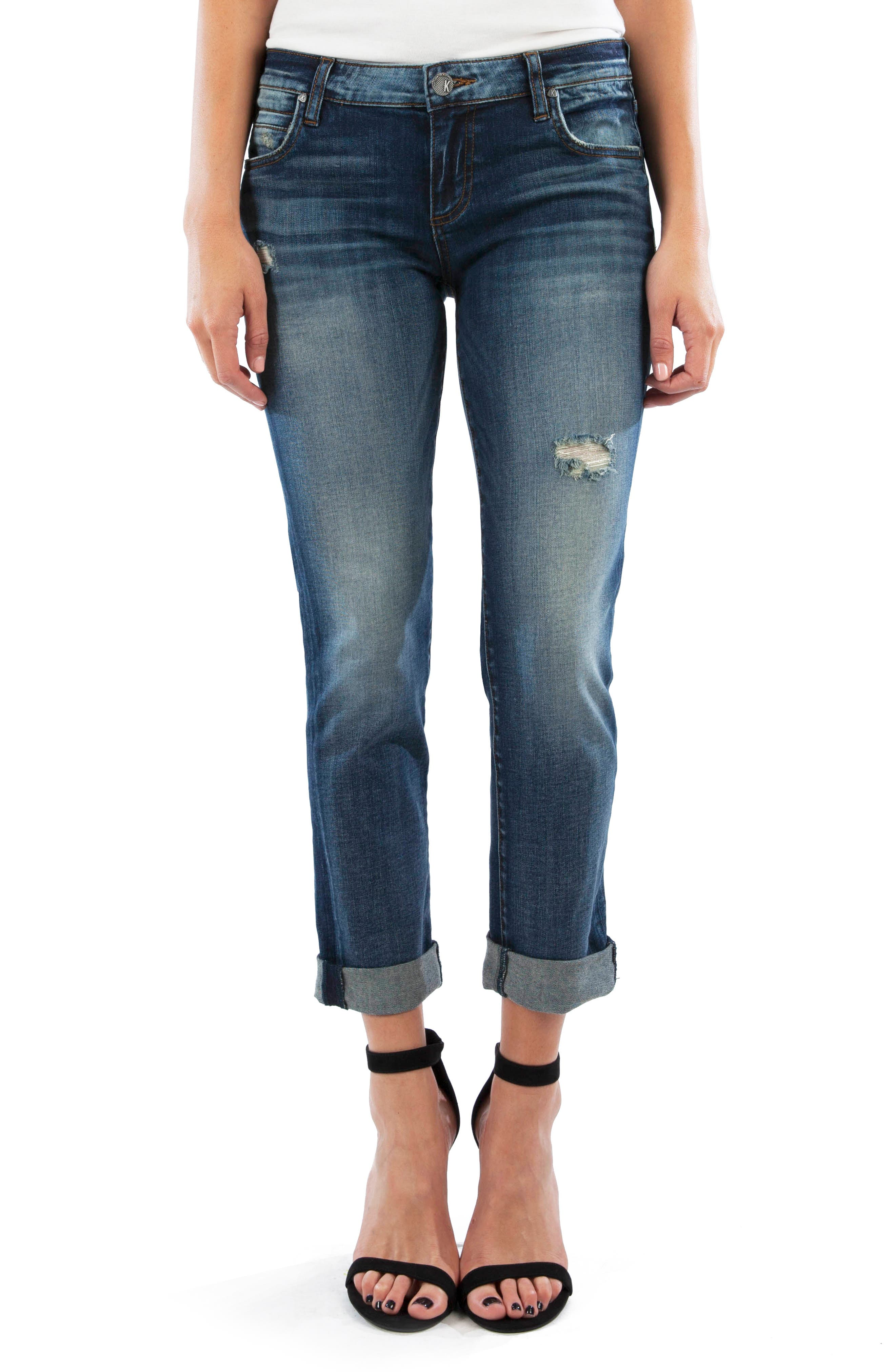 KUT from the Kloth Catherine Distressed Crop Boyfriend Jeans (Apply)