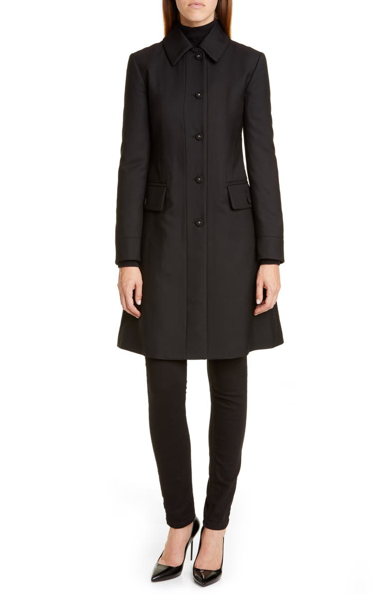 BURBERRY Angus Gabardine Coat, Main, color, BLACK