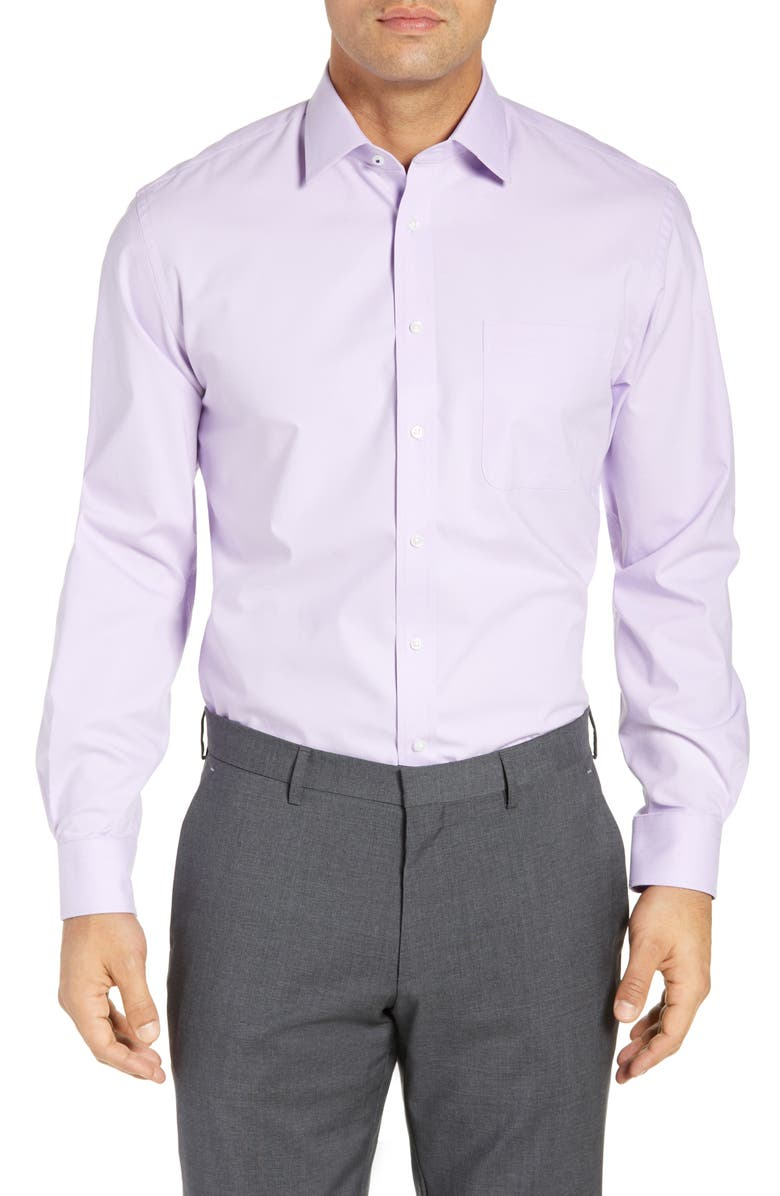 NORDSTROM MEN'S SHOP Tech-Smart Traditional Fit Stretch Pinpoint Dress Shirt, Main, color, PURPLE SPRAY