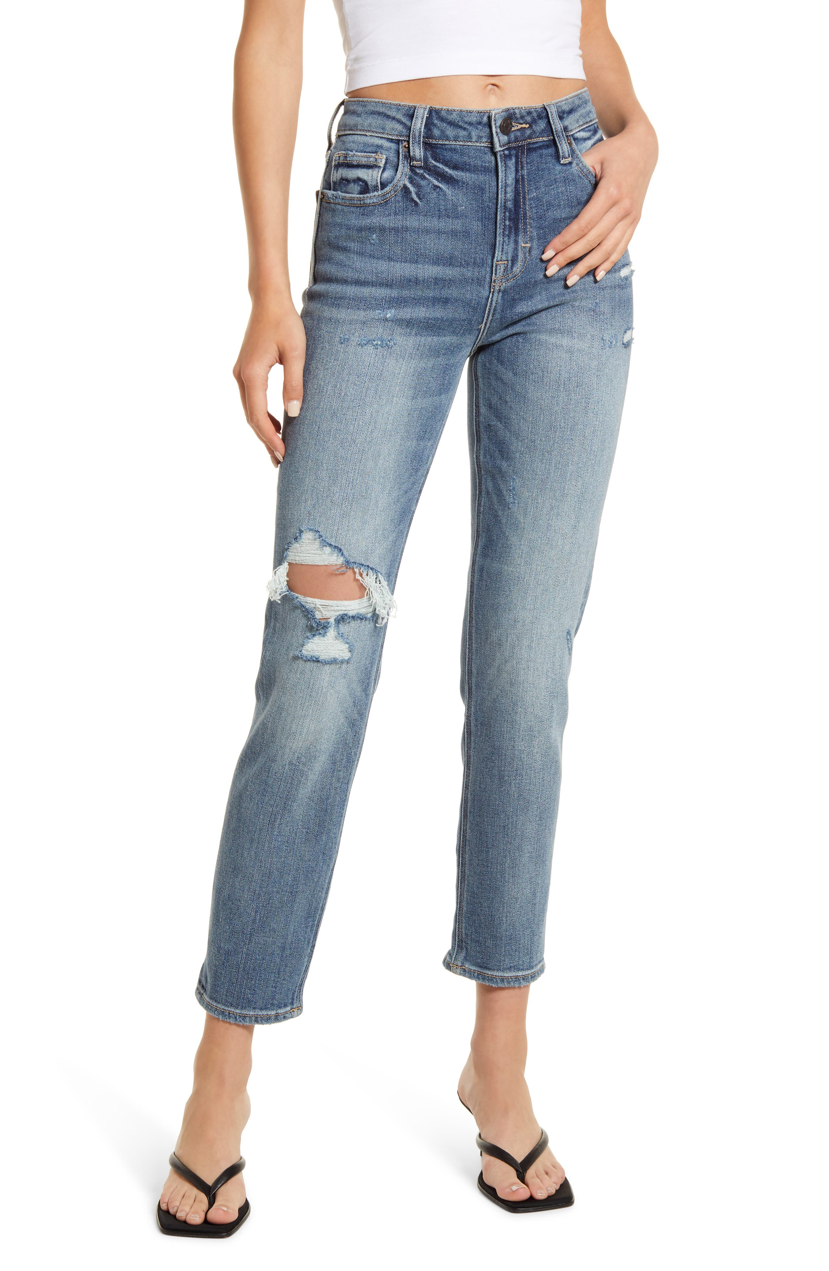 Distressed High Waist Ankle Straight Leg Jeans