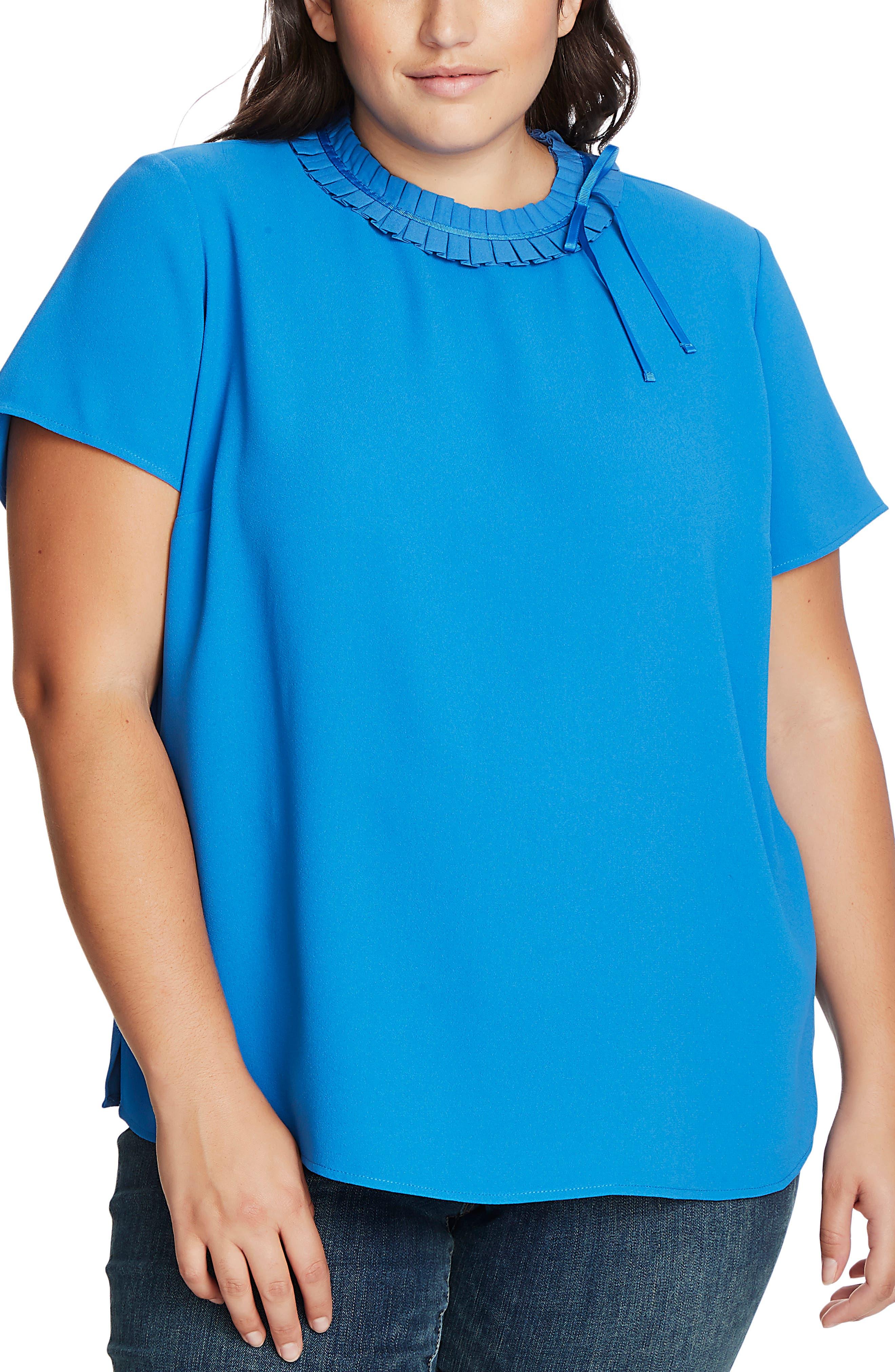 Vintage Tops & Retro Shirts, Halter Tops, Blouses Plus Size Womens Cece Pleated Collar Short Sleeve Crepe Blouse $53.40 AT vintagedancer.com