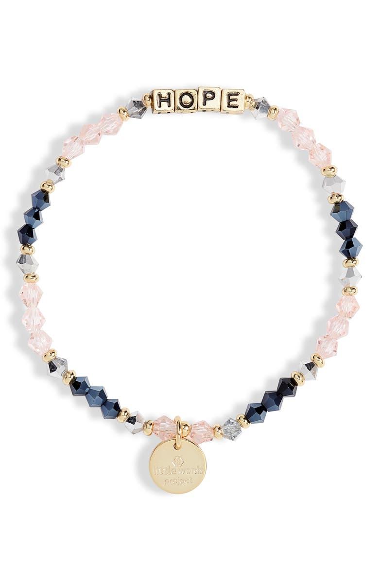 LITTLE WORDS PROJECT Hope Beaded Stretch Bracelet, Main, color, BELLE/ GOLD