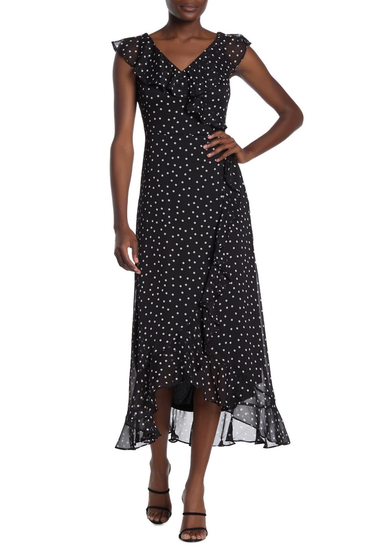 Image of London Times Ruffle Polka Dot Maxi Dress