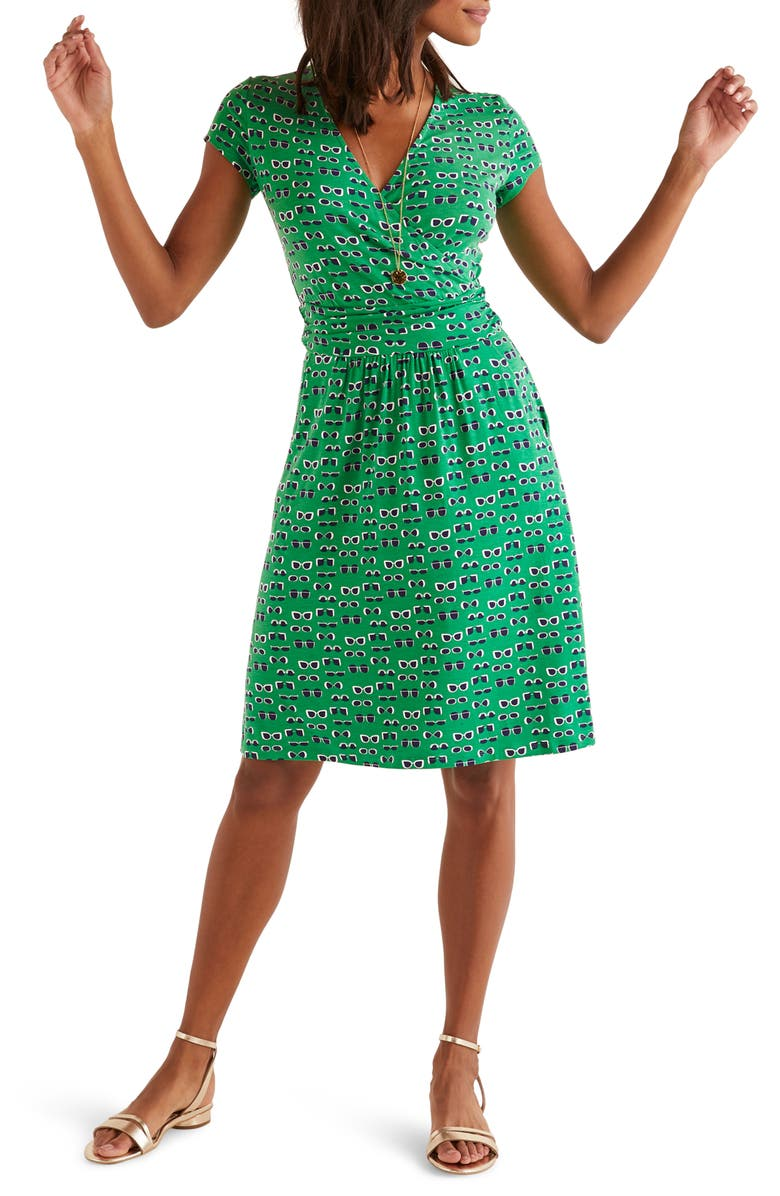 BODEN Lola Jersey Dress, Main, color, RICH EMERALD/ LUNETTES
