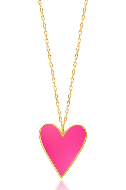 Image of Gabi Rielle 14K Gold Plated Candy Pink Enamel Heart Necklace