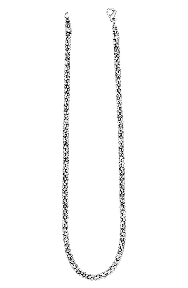 LAGOS Sterling Silver 4mm Caviar Chain Necklace, Main, color, 040