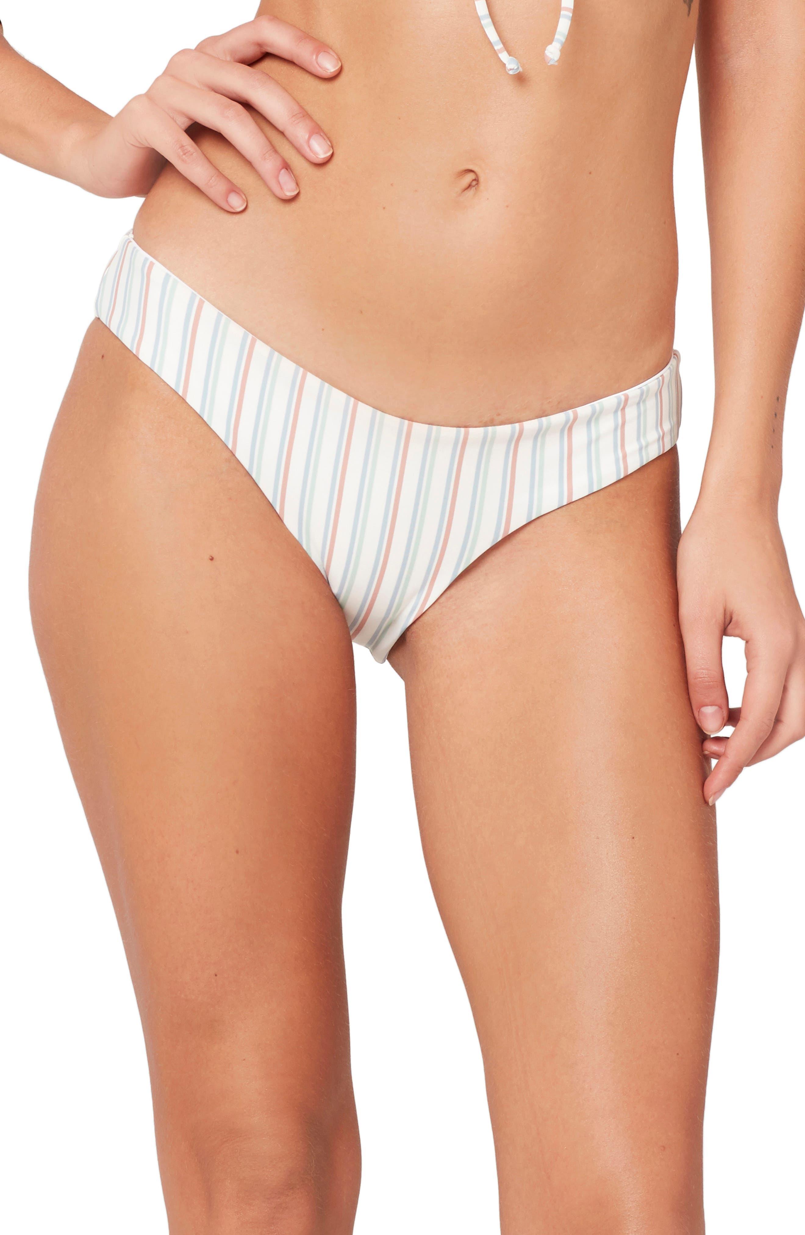 x Becca Tilley Sandy Classic Bikini Bottoms, Main, color, CABANA STRIPE