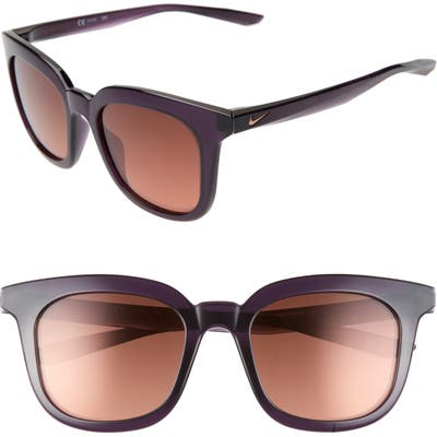 Nike Myriad 52Mm Mirrored Square Sunglasses - Purple/ Rose Gold/ Brown