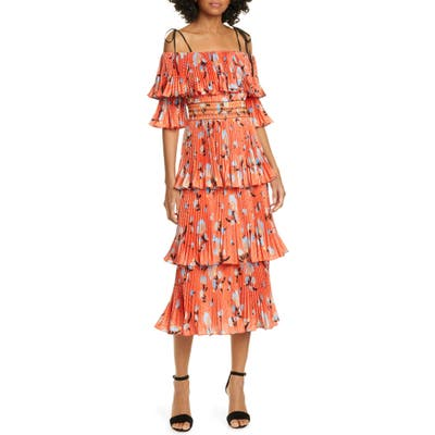 Self-Portrait Floral Print Pleated Tiered Midi Dress, Red