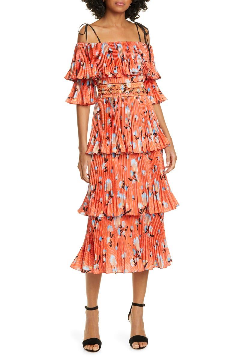 6e1e85950ba3 Self-Portrait Floral Print Pleated Tiered Midi Dress | Nordstrom