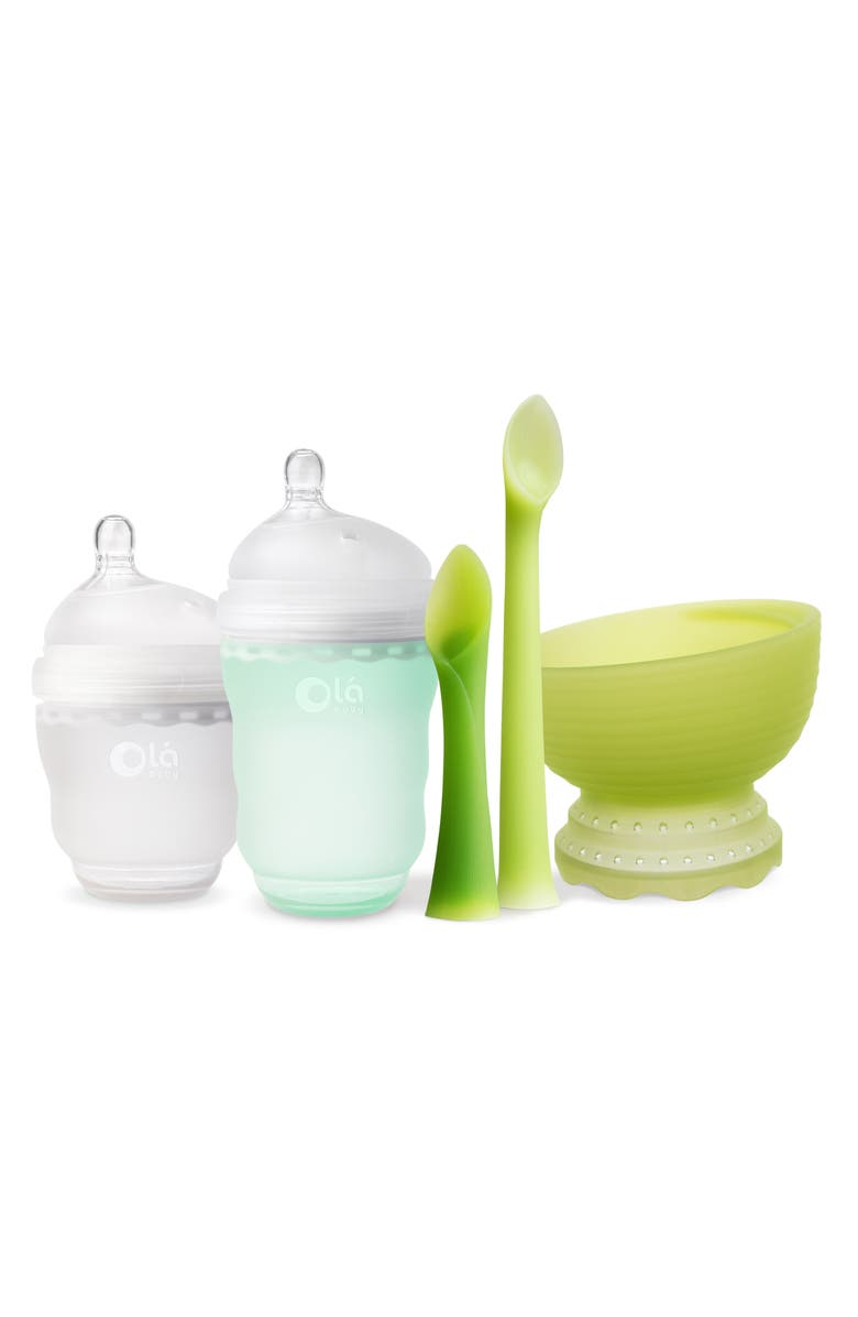OLABABY 5-Piece Baby Feeding Starter Set, Main, color, MINT/ FROST/ GREEN