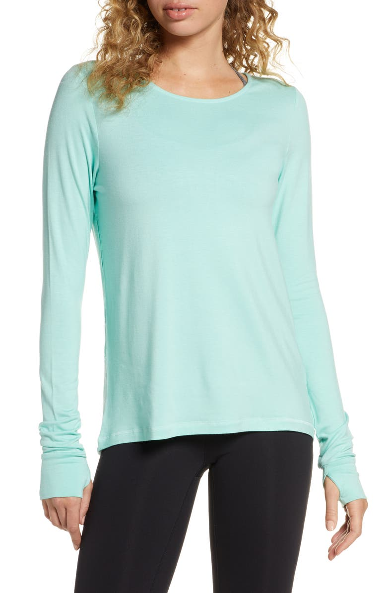 SWEATY BETTY Enchant Drape Back Long Sleeve Yoga Tee, Main, color, 300