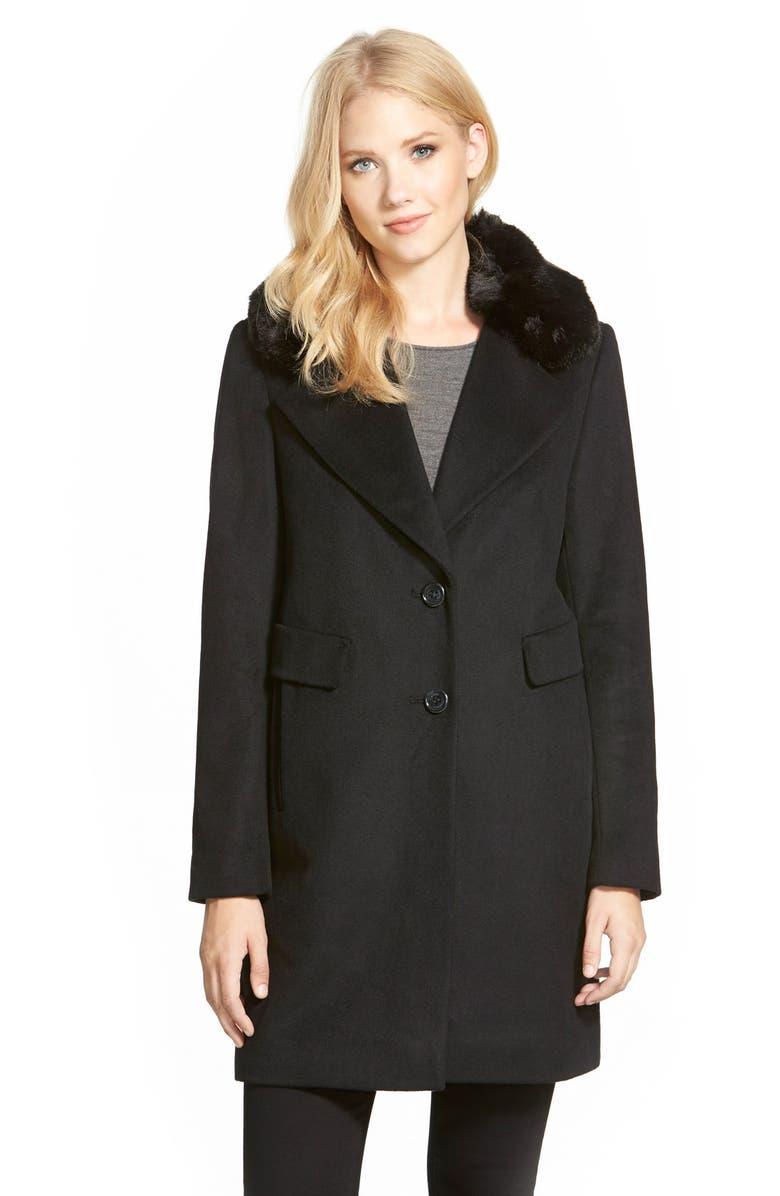 DKNY Faux Fur Trim Wool Blend Reefer Coat, Main, color, 001