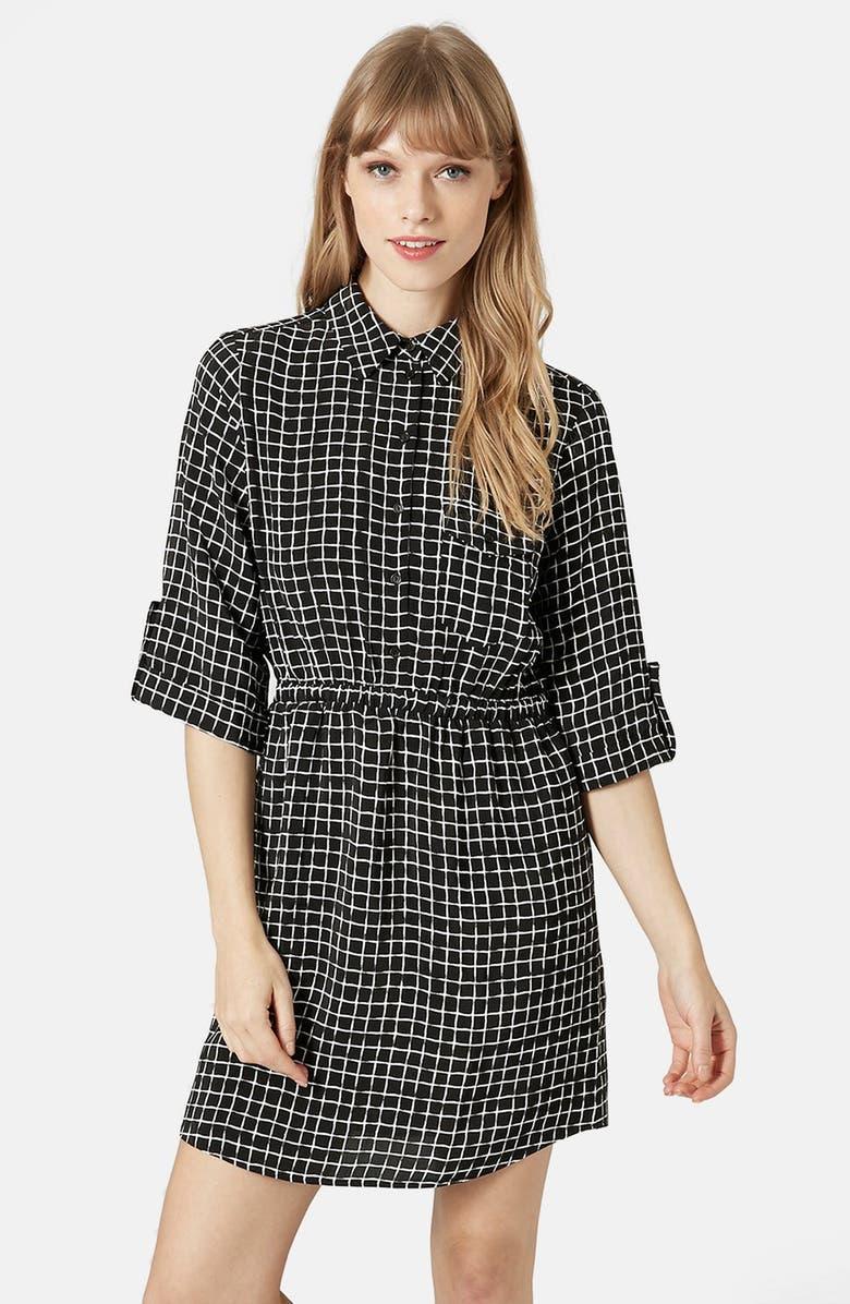 TOPSHOP Grid Print Shirtdress, Main, color, 001