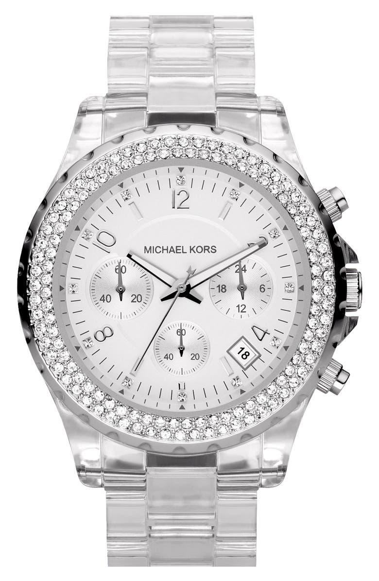 MICHAEL MICHAEL KORS Michael Kors 'Madison' Resin & Crystal Watch, Main, color, 000