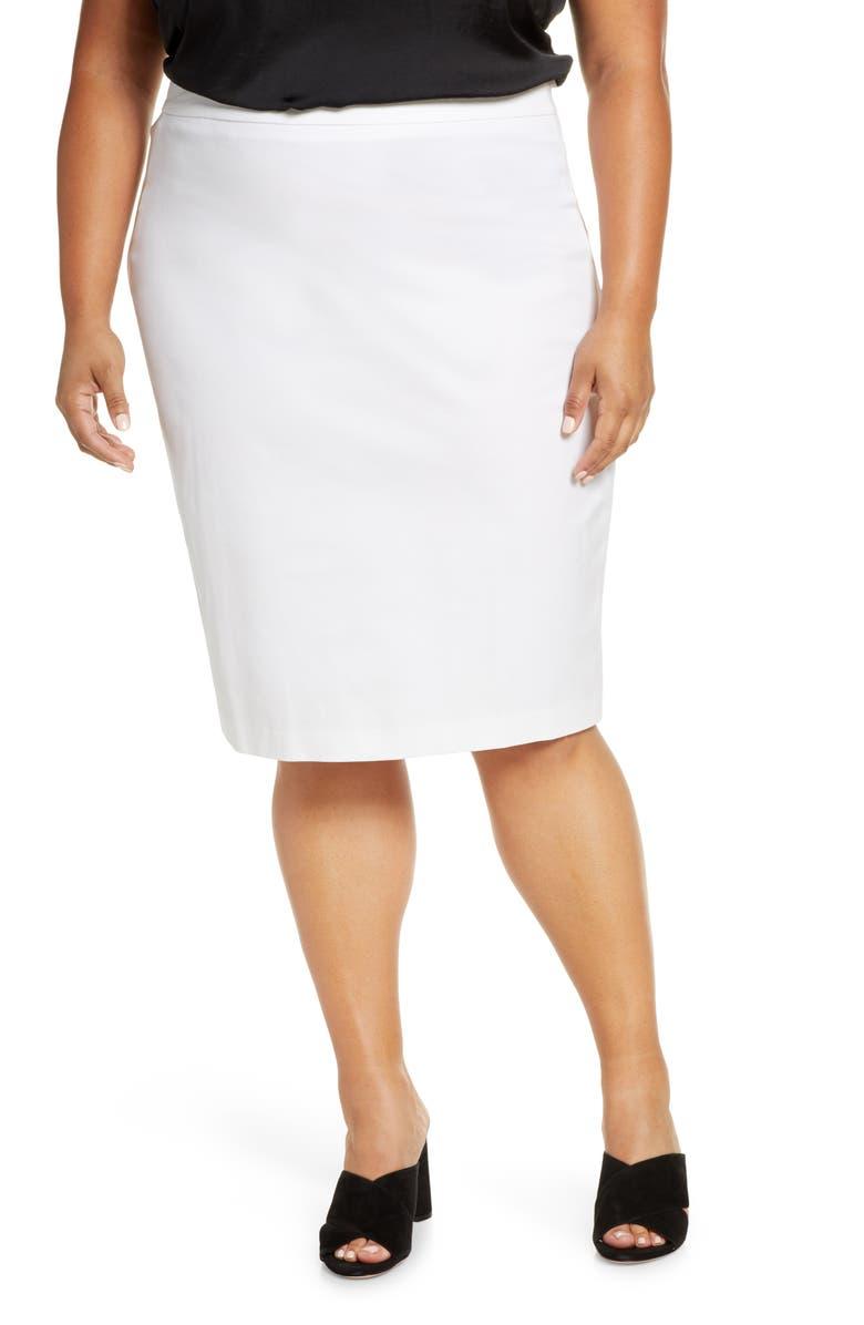 ELOQUII Premier Slim Pencil Skirt, Main, color, SOFT WHITE