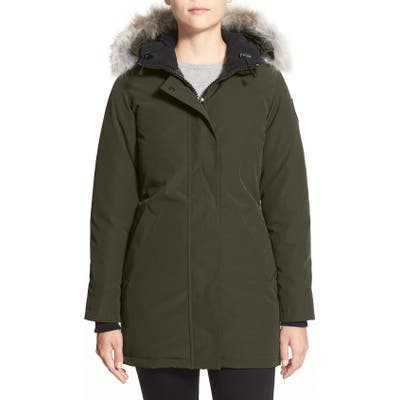 Canada Goose Victoria Down Parka With Genuine Coyote Fur Trim, (6-8) - Green
