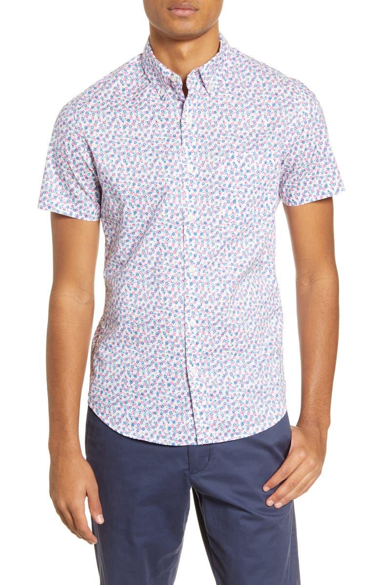 BONOBOS Riviera Slim Fit Floral Short Sleeve Button-Down Shirt, Main, color, CORFU FLORAL NAUTICAL BLUE