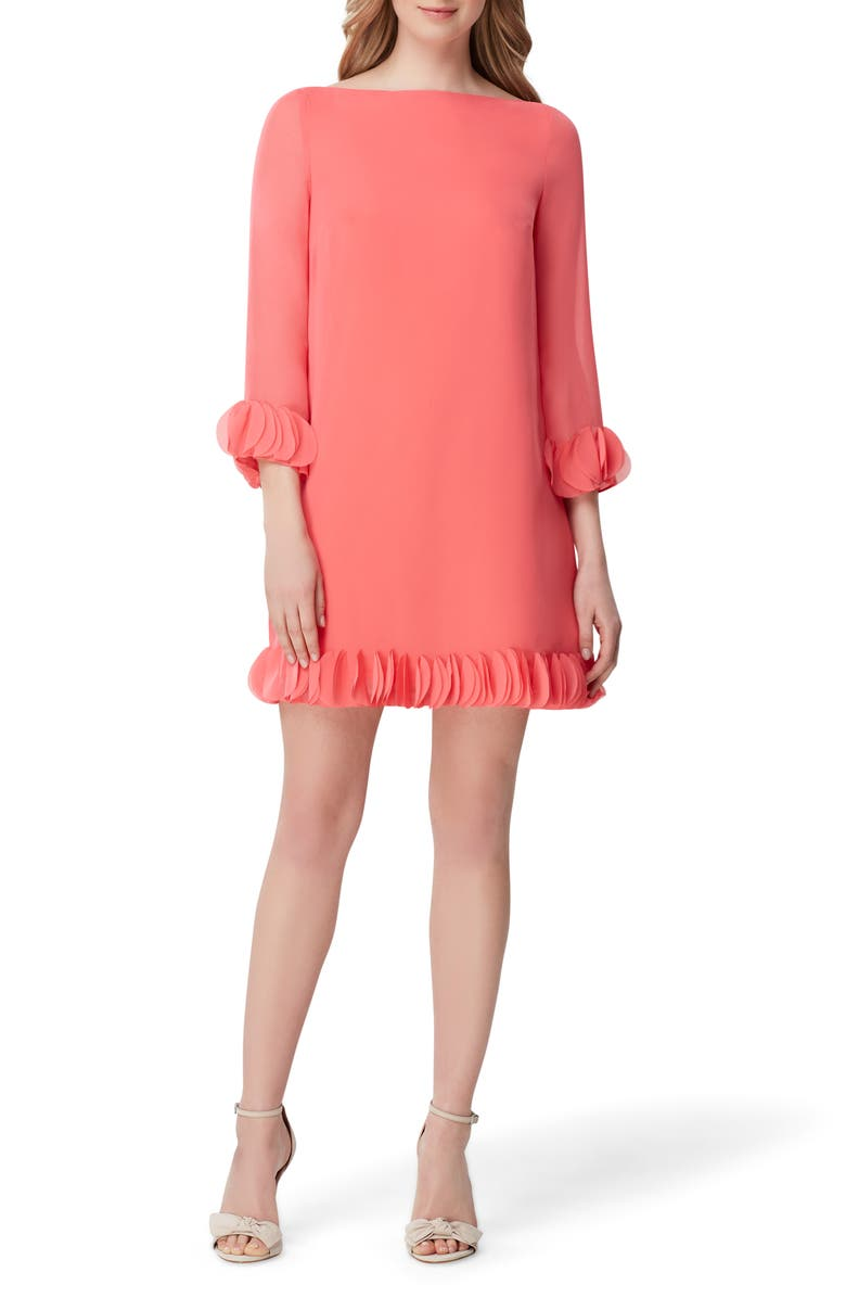 TAHARI Chiffon Shift Dress, Main, color, MELON