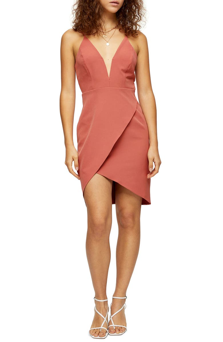 TOPSHOP Plunge Slipdress, Main, color, NUDE