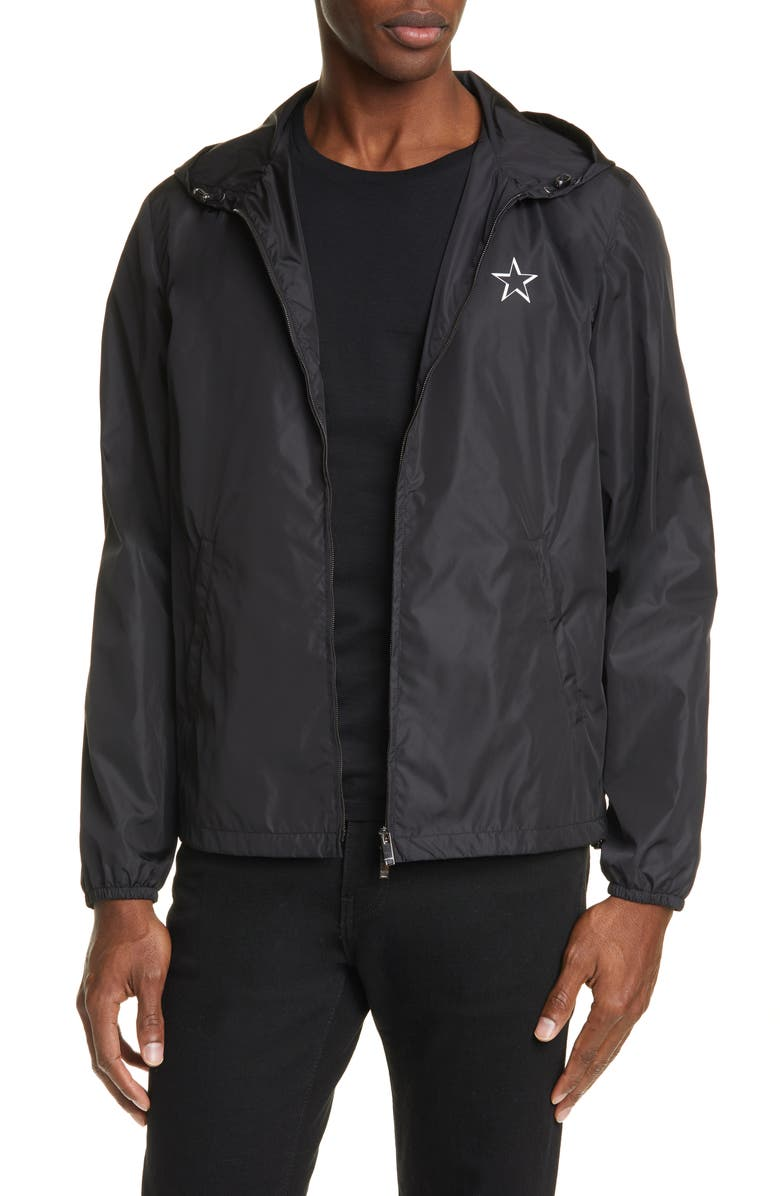 VALENTINO VTLNSTAR Logo Hooded Jacket, Main, color, BLACK/ WHITE