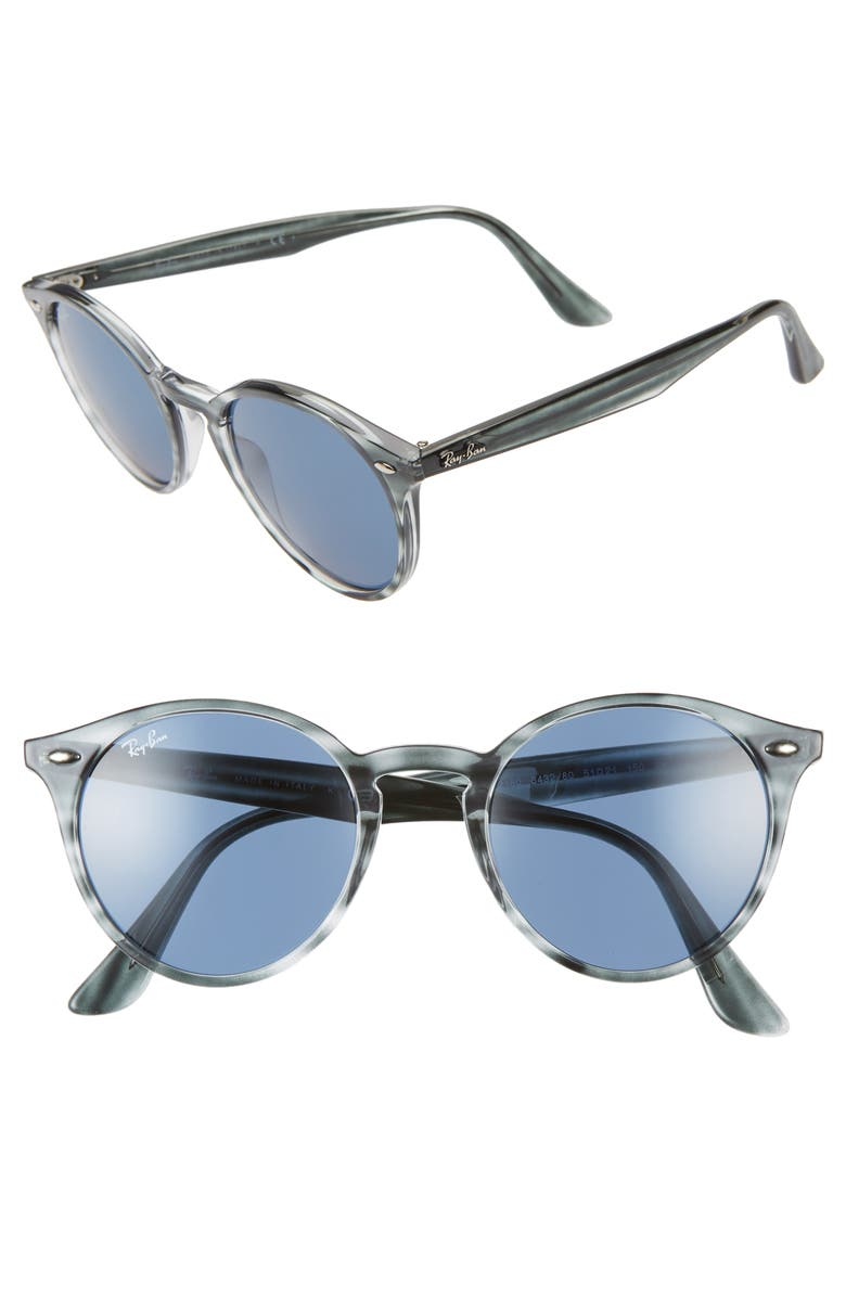 RAY-BAN Highstreet 51mm Round Sunglasses, Main, color, BLUE HAVANA/ BLUE SOLID