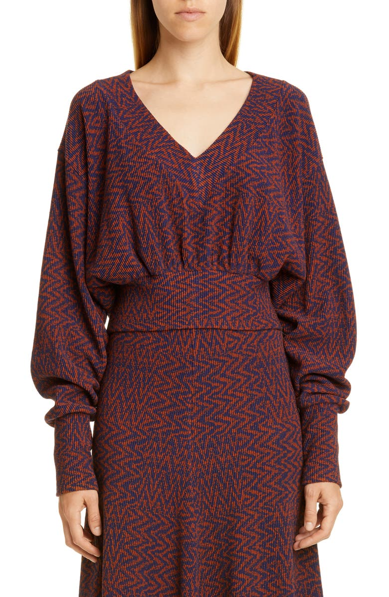 BEAUFILLE Peretti Tiled Chevron Knit Sweater, Main, color, NAVY BLUE AND SEPIA