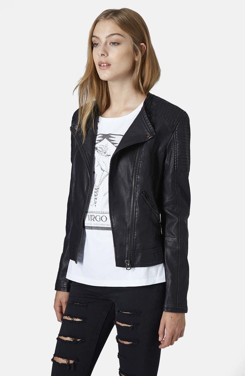 TOPSHOP Faux Leather Biker Jacket, Main, color, 001