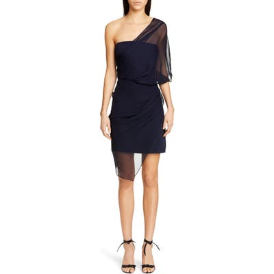 Cushnie Tulle Overlay One-Shoulder Silk Minidress, Blue