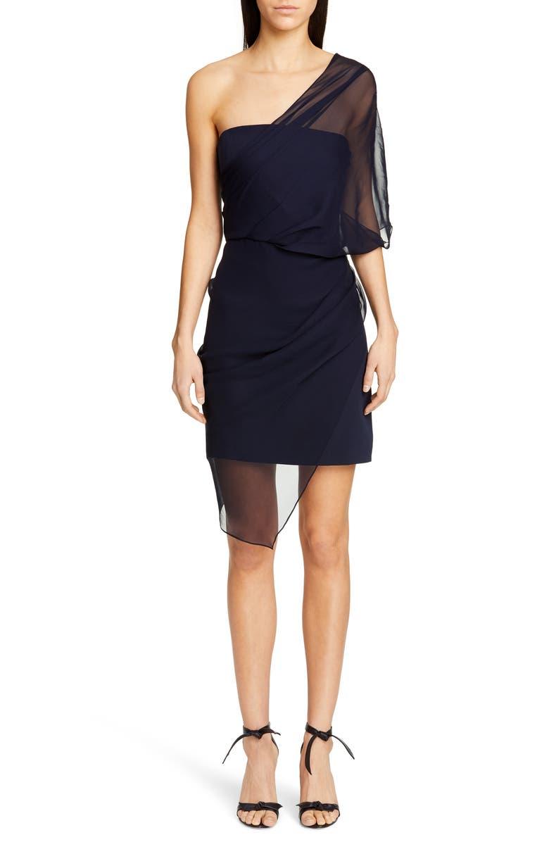 CUSHNIE Tulle Overlay One-Shoulder Silk Minidress, Main, color, NAVY