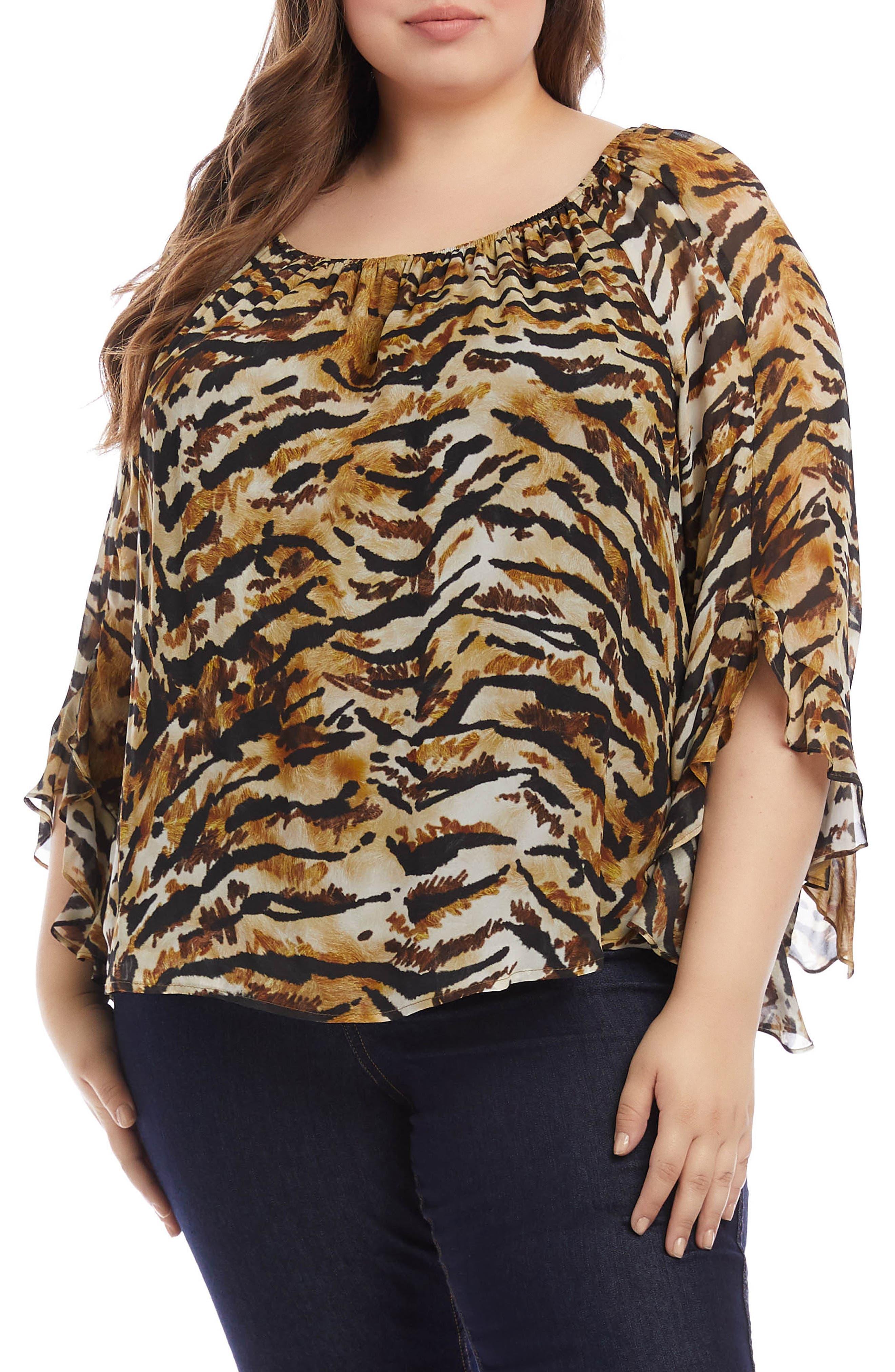 Karen Kane Ruffle Sleeve Top (Plus Size) | Nordstrom