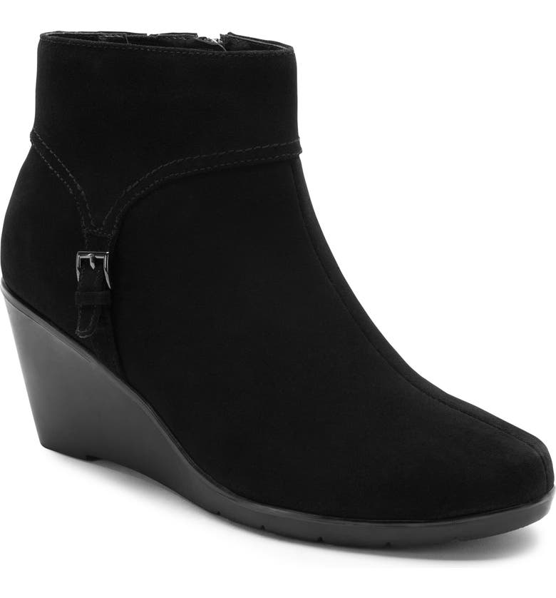BLONDO Lacy Waterproof Wedge Bootie, Main, color, BLACK SUEDE