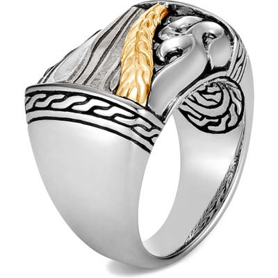 John Hardy Classic Chain Two-Tone Ring With Damascus Steel