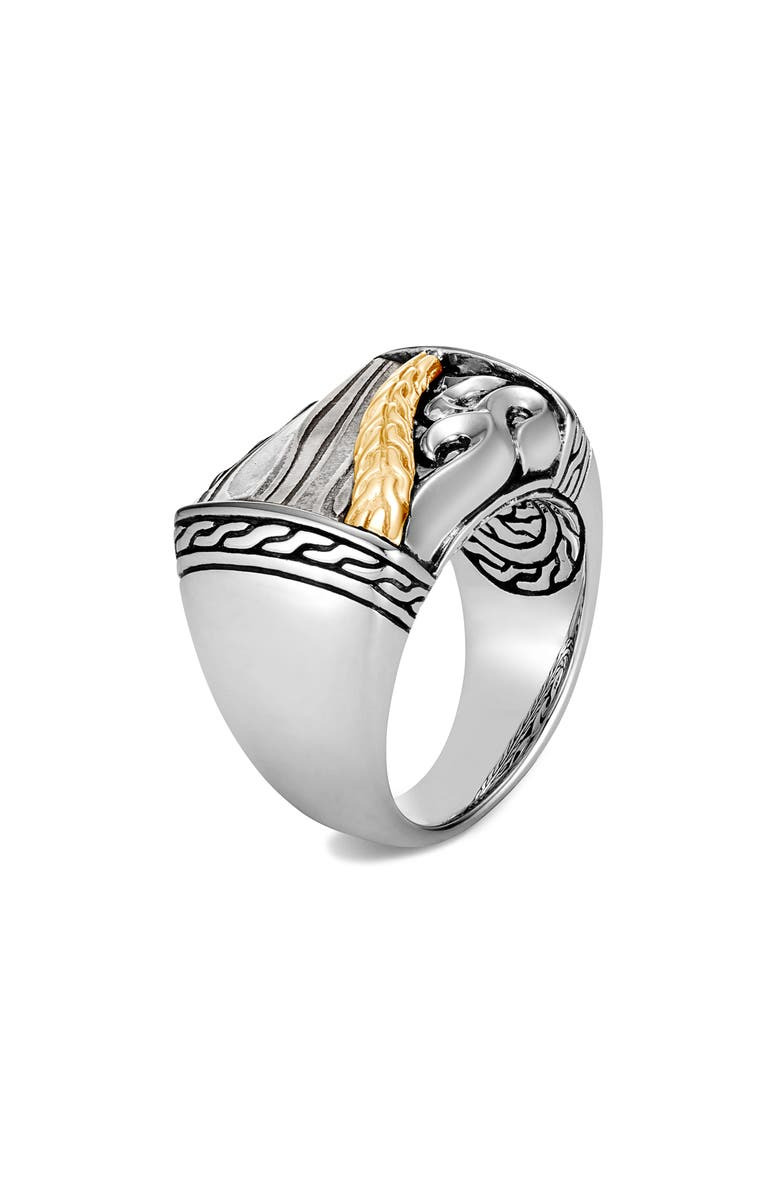 JOHN HARDY Men's Classic Chain Two-Tone Ring with Damascus Steel, Main, color, SILVER/ GOLD