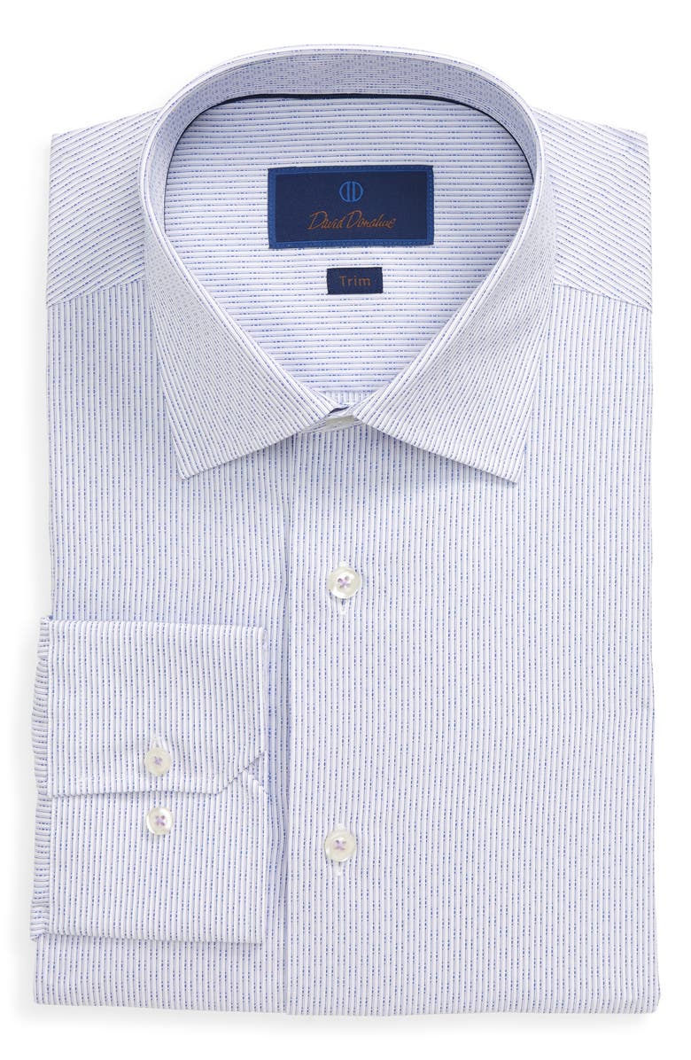 DAVID DONAHUE Trim Fit Stripe Dress Shirt, Main, color, LILAC