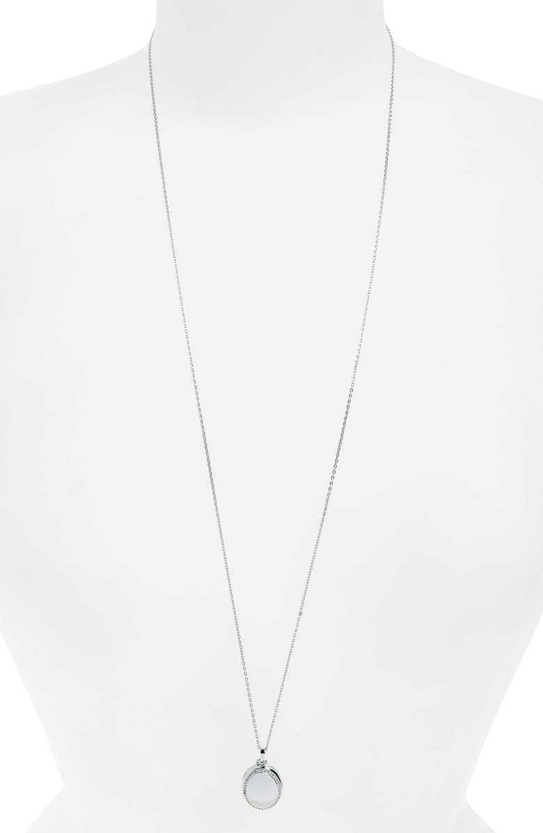MONICA RICH KOSANN Four Image White Sapphire Locket Necklace, Main, color, STERLING SILVER