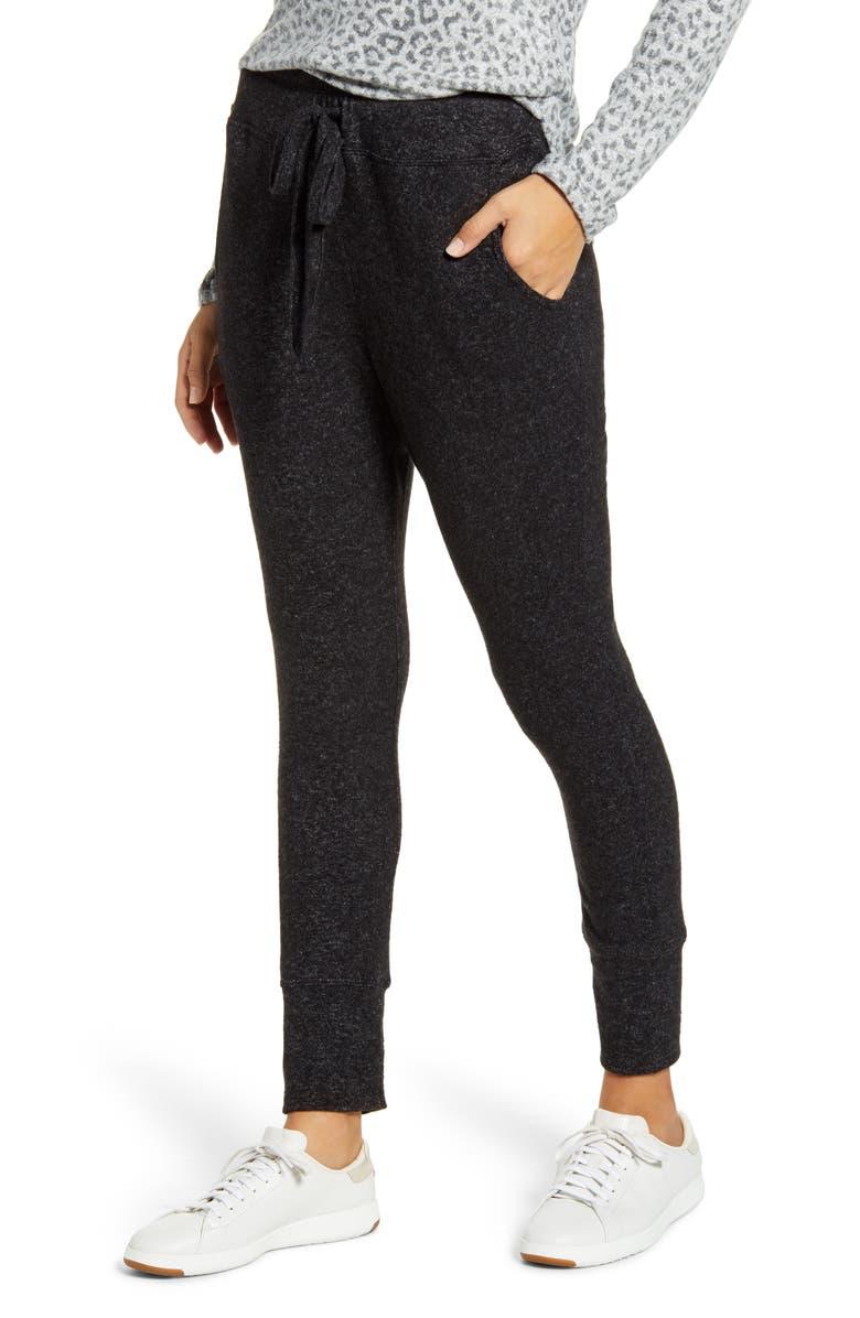 BOBEAU Cozy Jogger Pants, Main, color, RAVEN BLACK MIX