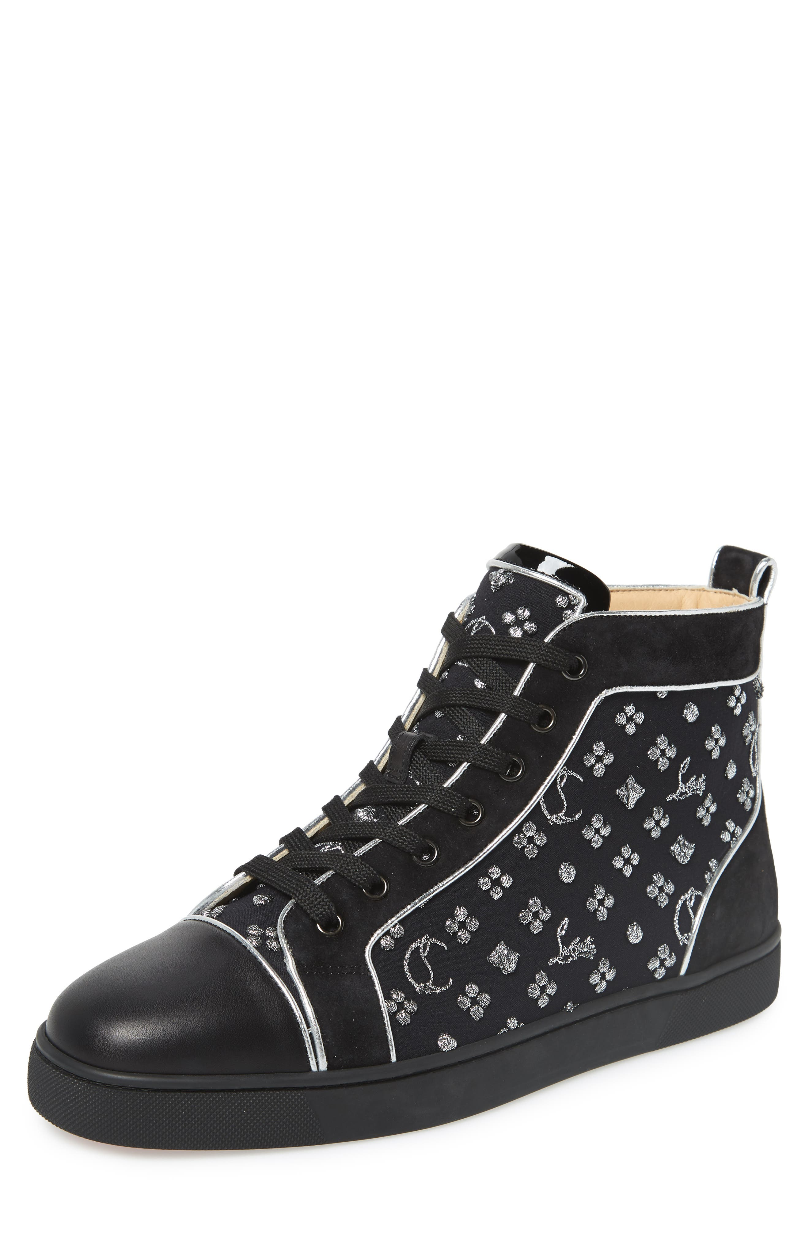 ,                             Louis Orlato High Top Sneaker,                             Main thumbnail 1, color,                             BLACK/SILVER