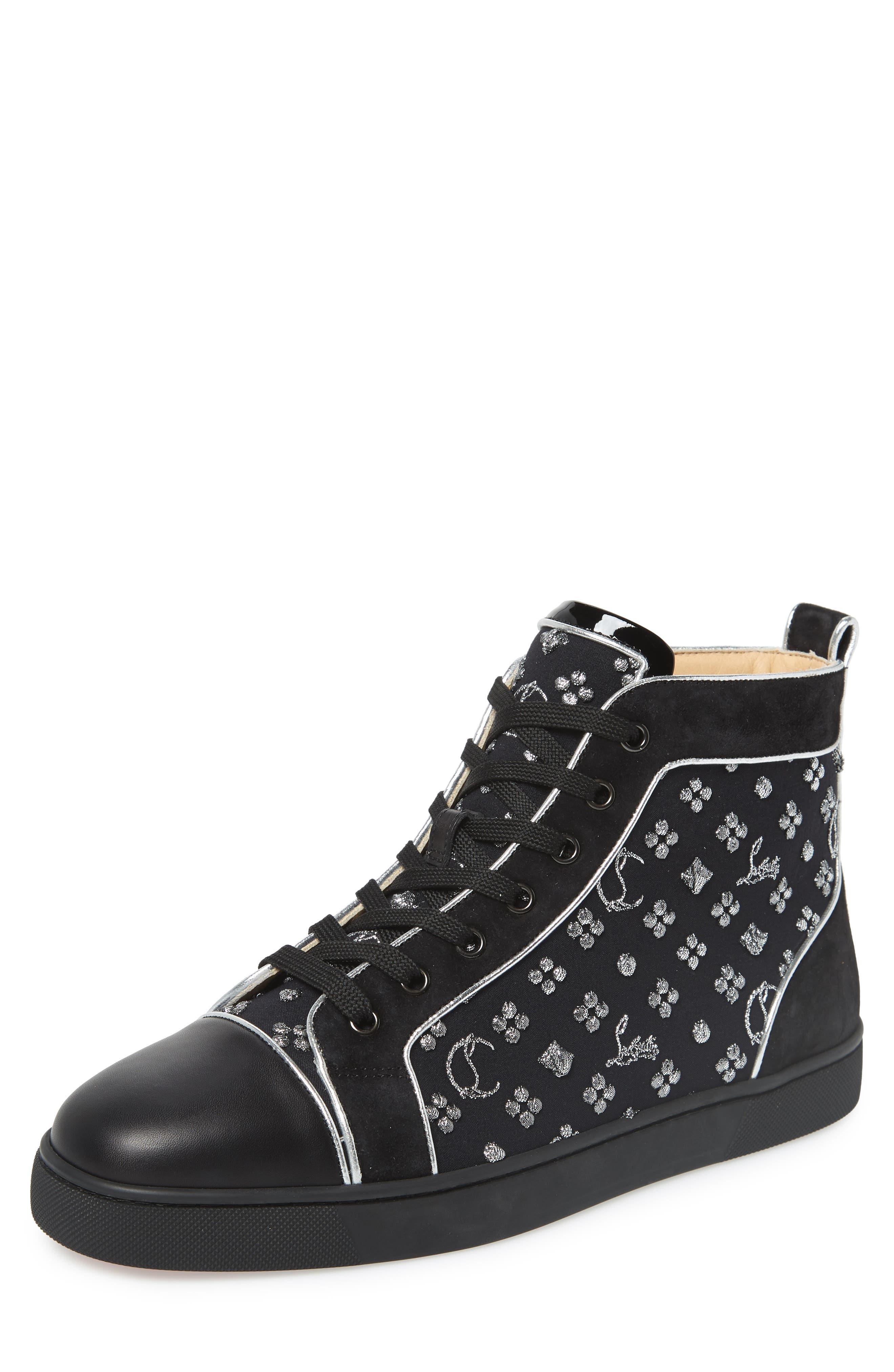 Louis Orlato High Top Sneaker, Main, color, BLACK/SILVER