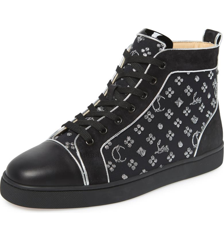 CHRISTIAN LOUBOUTIN Louis Orlato High Top Sneaker, Main, color, BLACK/SILVER