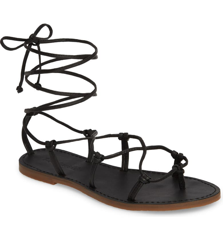 MADEWELL The Boardwalk Lace-Up Sandal, Main, color, TRUE BLACK