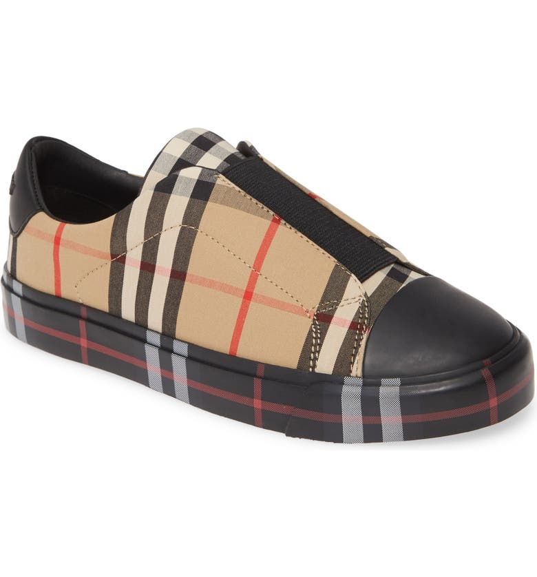 BURBERRY Mini Markham Check Sneaker, Main, color, 001