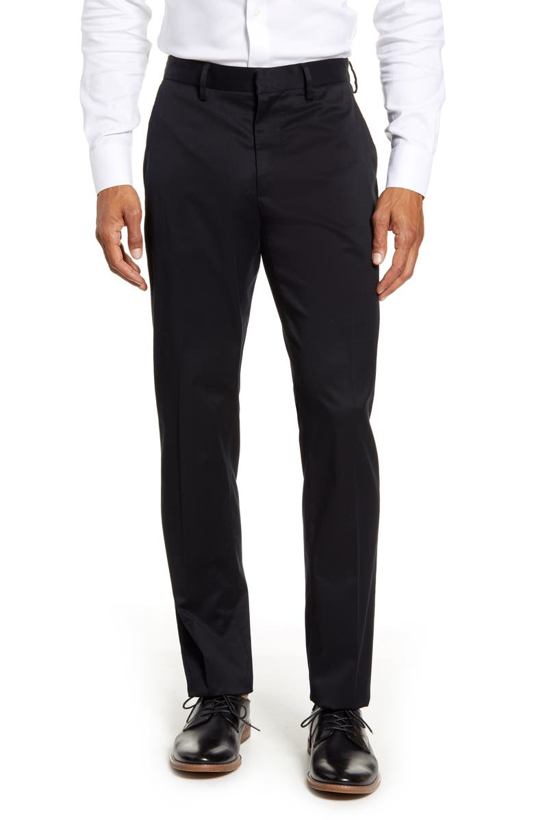 NORDSTROM MEN'S SHOP Athletic Fit Leg Non-Iron Chinos, Main, color, BLACK CAVIAR