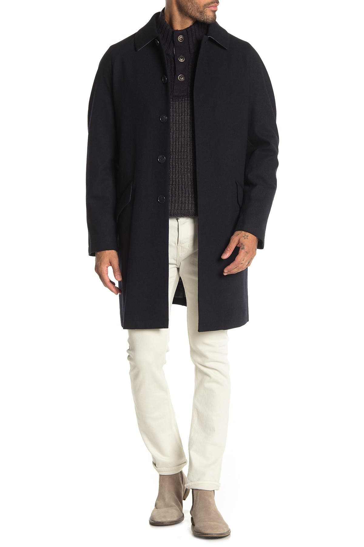 DKNY Basketweave Spread Collar Coat