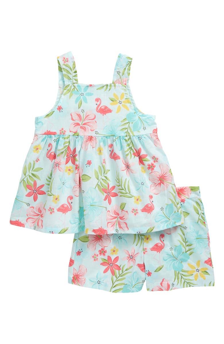 LITTLE ME Tropical Tunic & Shorts Set, Main, color, AQUA
